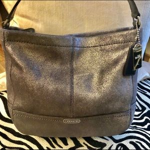 Coach Metallic Grey Leather Crossbody Bag